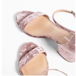 Express pink velvet ankle strap sandals